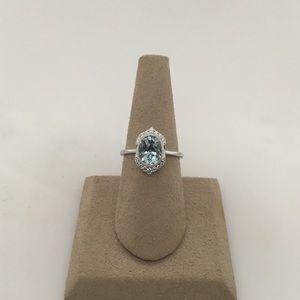 Jewelry - 14K White Gold Aquamarine & Diamond Ring